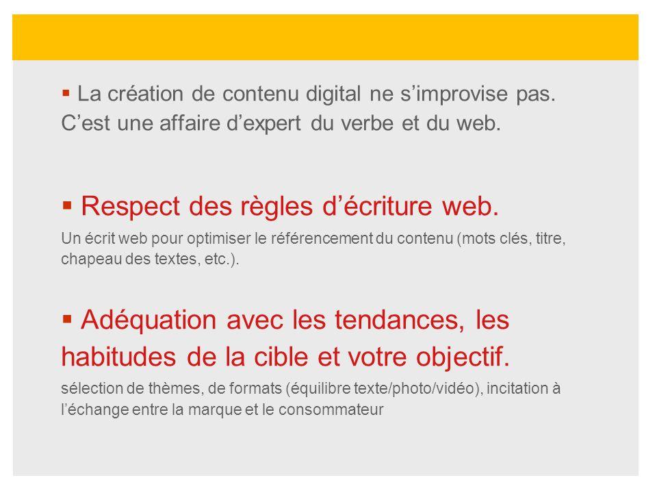 Respect des règles d'écriture web.