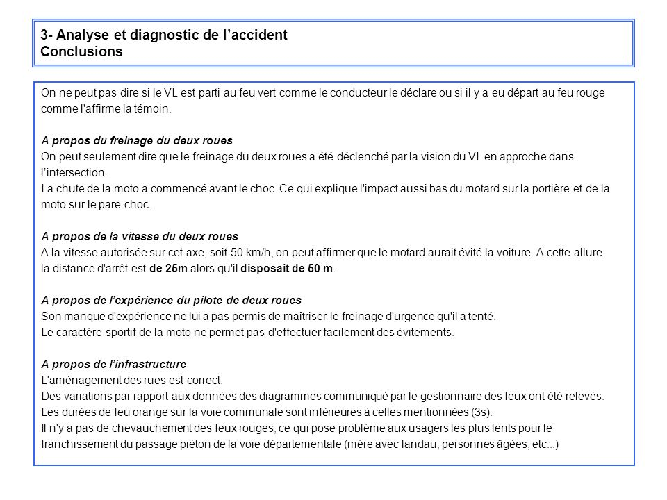 3- Analyse et diagnostic de l'accident Conclusions