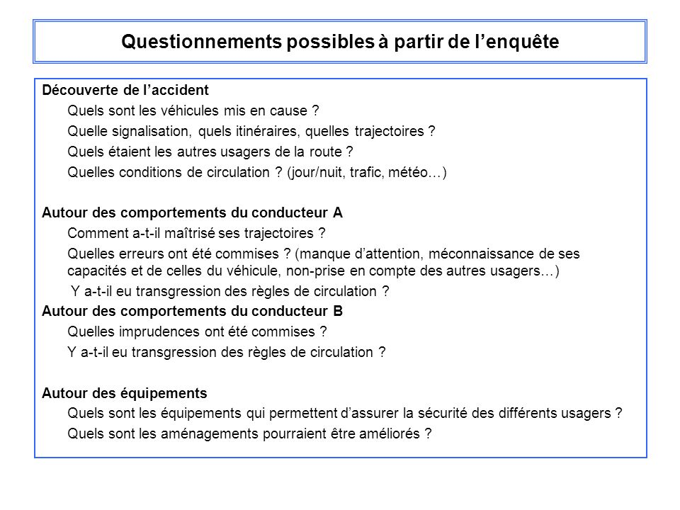 Questionnements possibles à partir de l'enquête