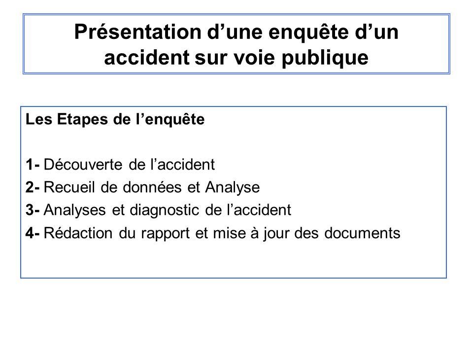 Présentation d'une enquête d'un accident sur voie publique