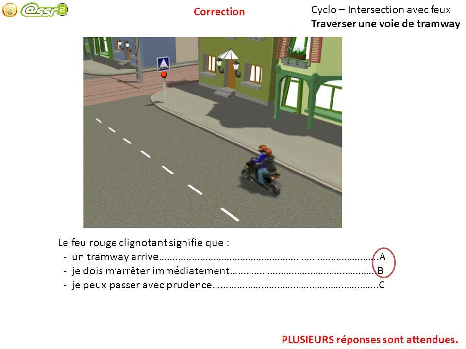 Correction Cyclo – Intersection avec feux. Traverser une voie de tramway. Le feu rouge clignotant signifie que :