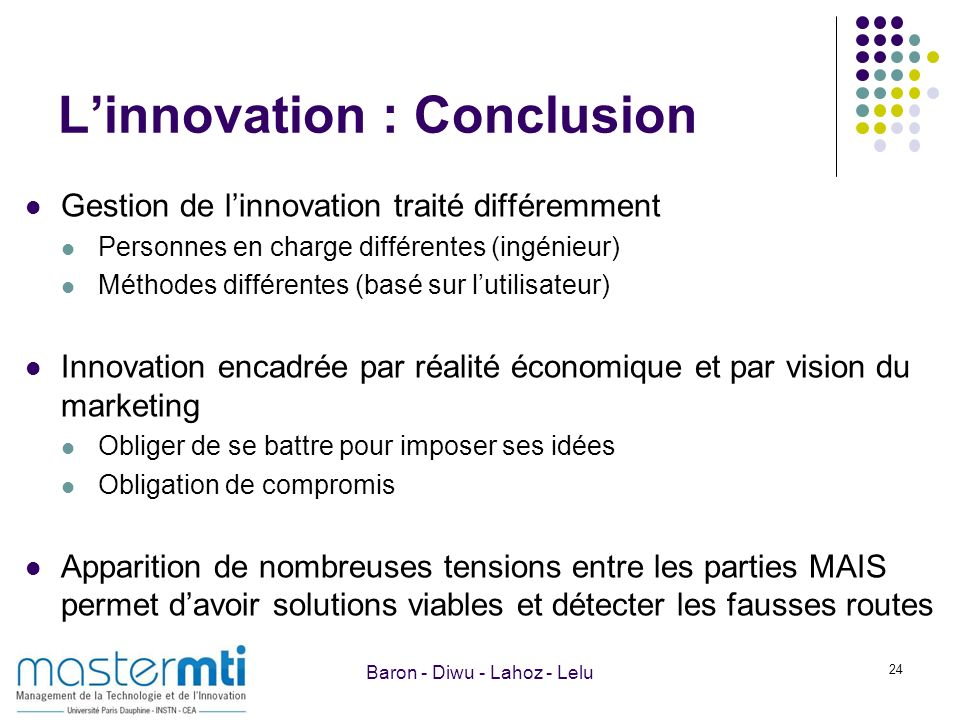 L'innovation : Conclusion