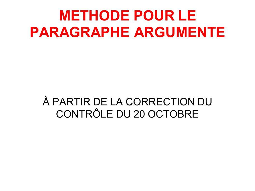 METHODE POUR LE PARAGRAPHE ARGUMENTE