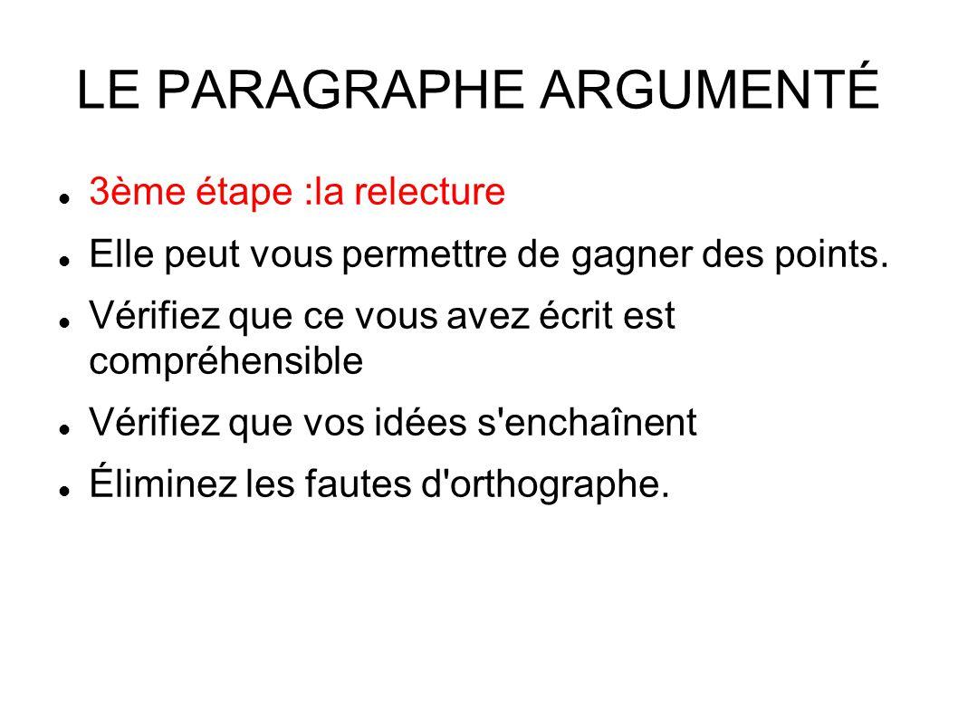 LE PARAGRAPHE ARGUMENTÉ