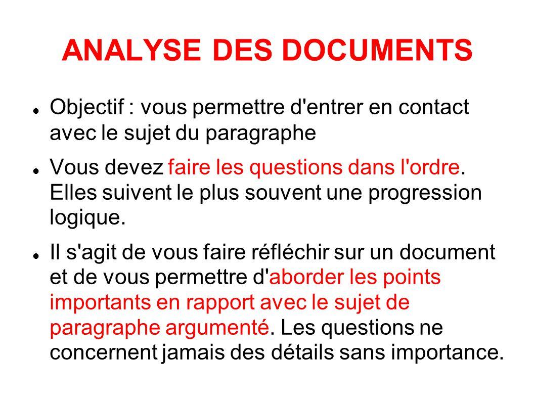 ANALYSE DES DOCUMENTS Objectif : vous permettre d entrer en contact avec le sujet du paragraphe.