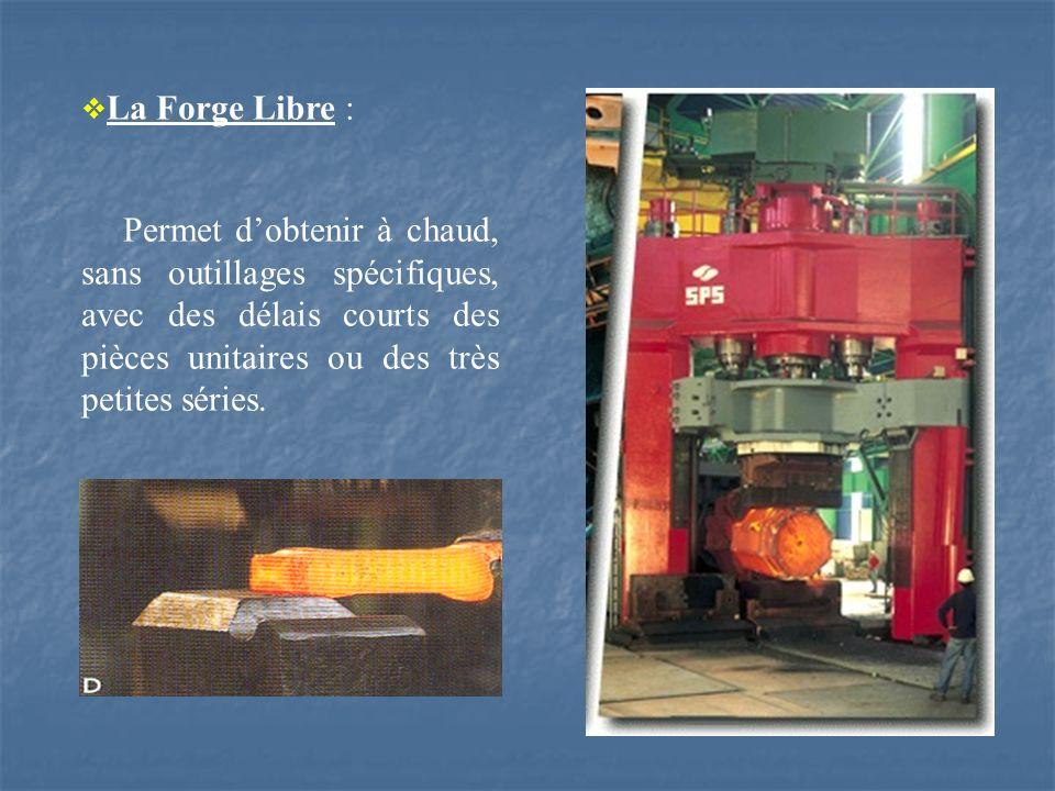 La Forge Libre : Permet d'obtenir à chaud, sans outillages spécifiques, avec des délais courts des pièces unitaires ou des très petites séries.