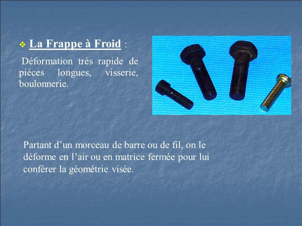 La Frappe à Froid : Déformation très rapide de pièces longues, visserie, boulonnerie.