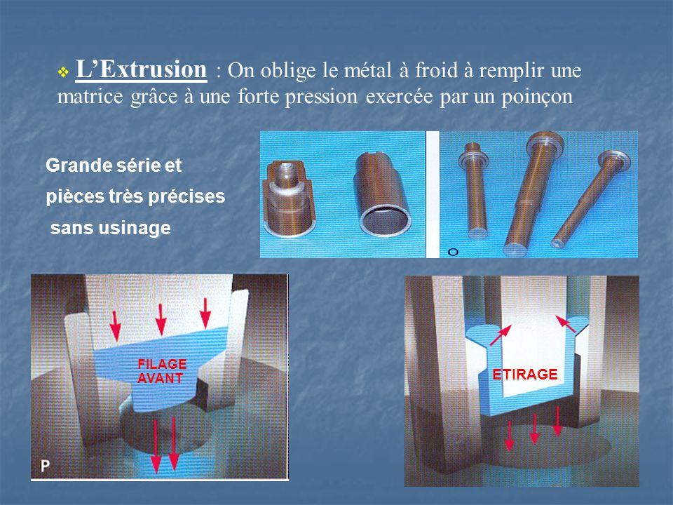L'Extrusion : On oblige le métal à froid à remplir une matrice grâce à une forte pression exercée par un poinçon