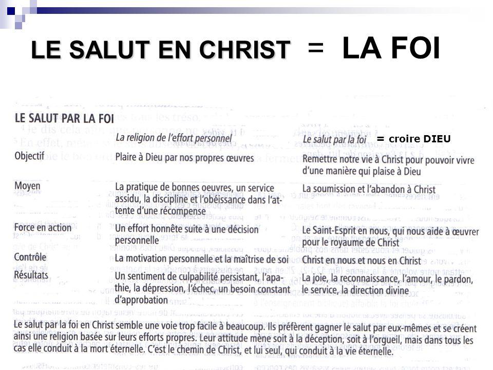 LE SALUT EN CHRIST = LA FOI