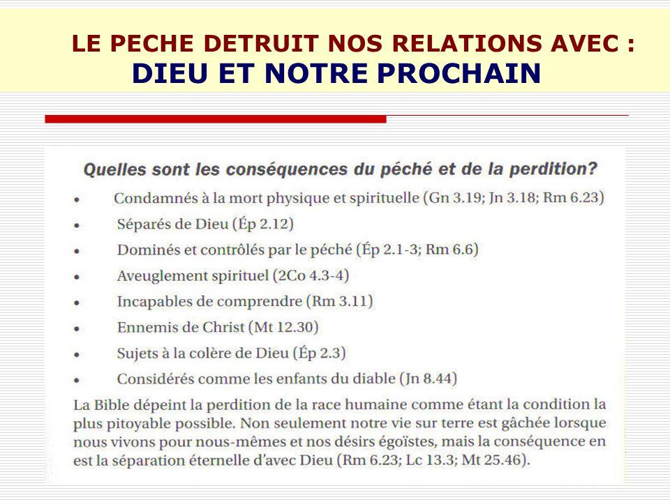 LE PECHE DETRUIT NOS RELATIONS AVEC : DIEU ET NOTRE PROCHAIN