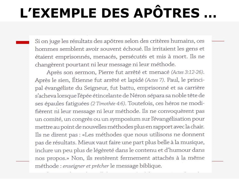 L'EXEMPLE DES APÔTRES …