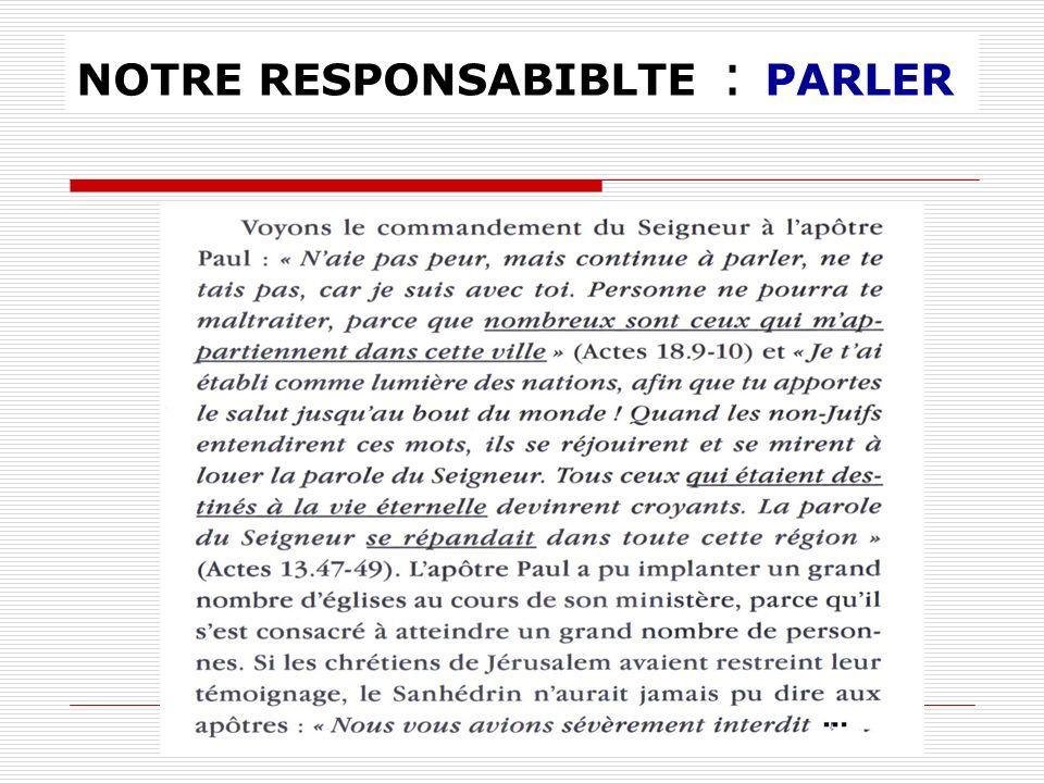 NOTRE RESPONSABIBLTE : PARLER