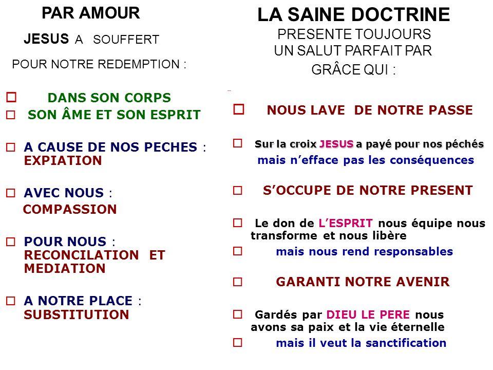 LA SAINE DOCTRINE PAR AMOUR NOUS LAVE DE NOTRE PASSE PRESENTE TOUJOURS