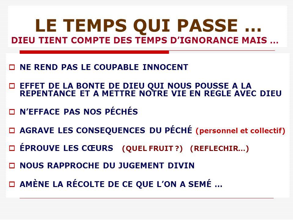 LE TEMPS QUI PASSE … DIEU TIENT COMPTE DES TEMPS D'IGNORANCE MAIS …
