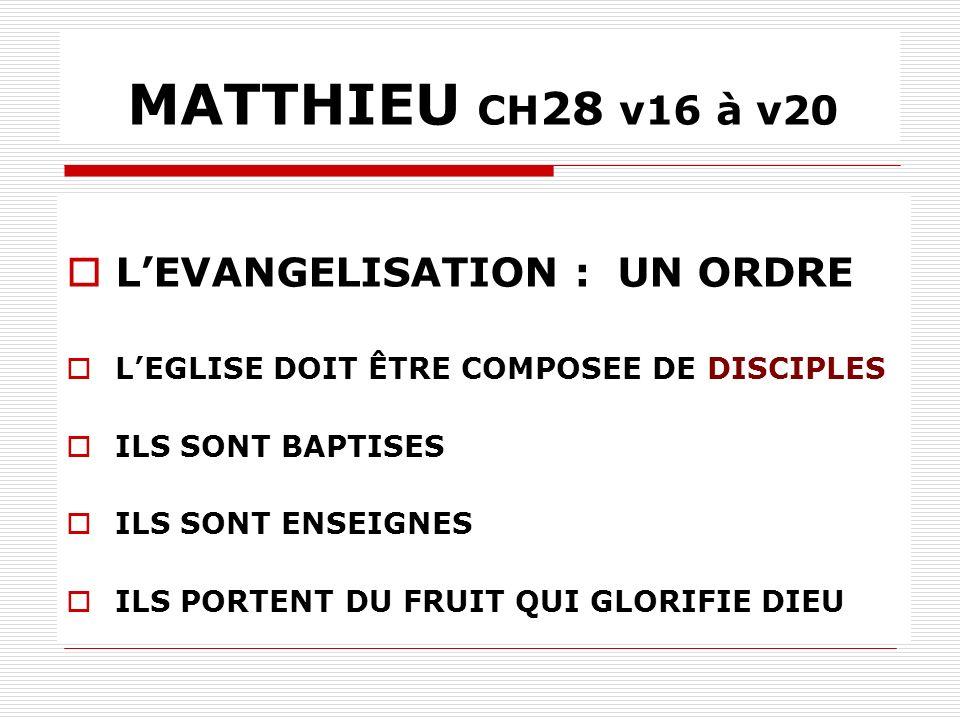 MATTHIEU CH28 v16 à v20 L'EVANGELISATION : UN ORDRE