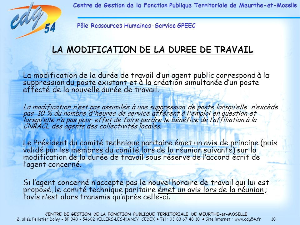 LA MODIFICATION DE LA DUREE DE TRAVAIL