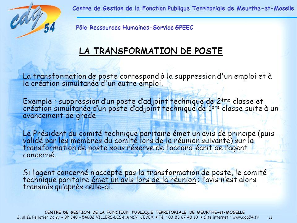 LA TRANSFORMATION DE POSTE