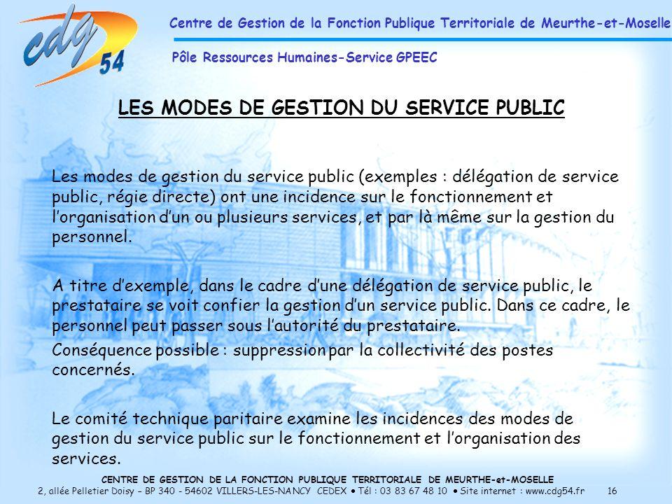 LES MODES DE GESTION DU SERVICE PUBLIC