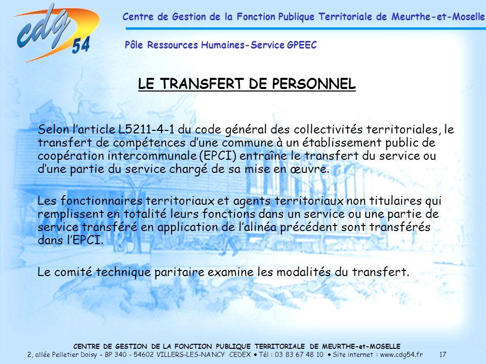 LE TRANSFERT DE PERSONNEL