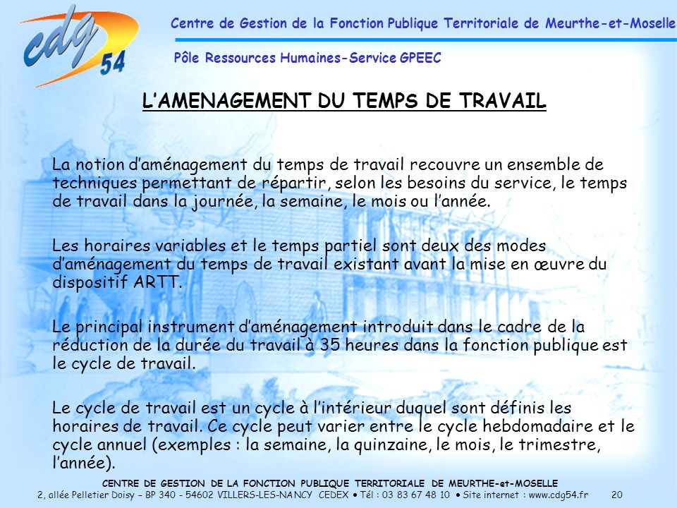 L'AMENAGEMENT DU TEMPS DE TRAVAIL
