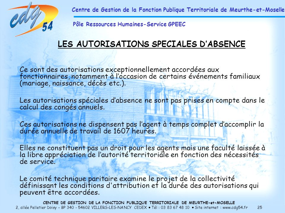 LES AUTORISATIONS SPECIALES D'ABSENCE