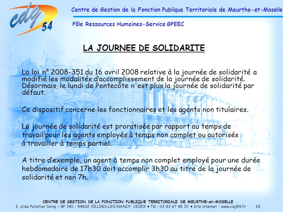 LA JOURNEE DE SOLIDARITE