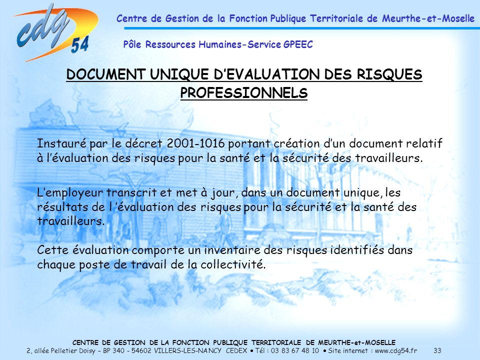 DOCUMENT UNIQUE D'EVALUATION DES RISQUES PROFESSIONNELS