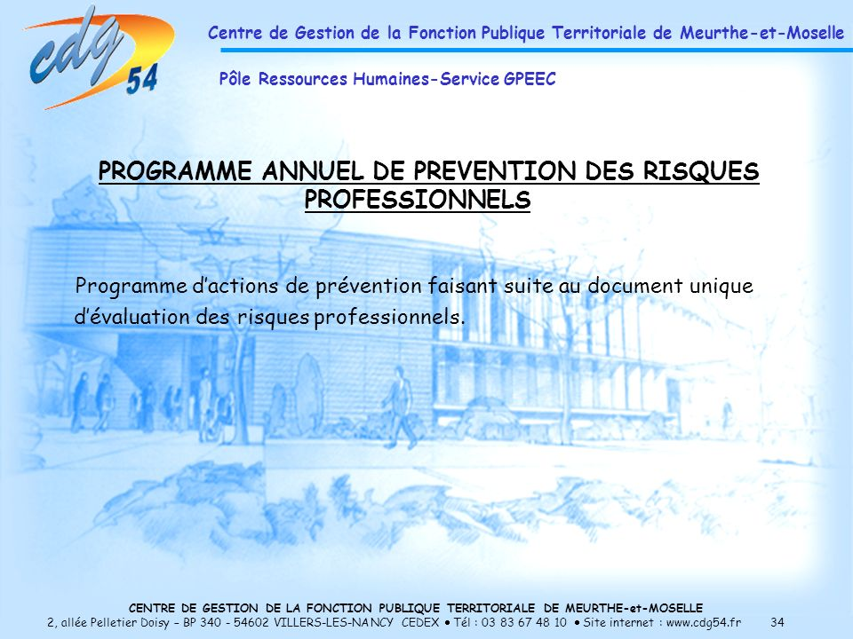 PROGRAMME ANNUEL DE PREVENTION DES RISQUES PROFESSIONNELS