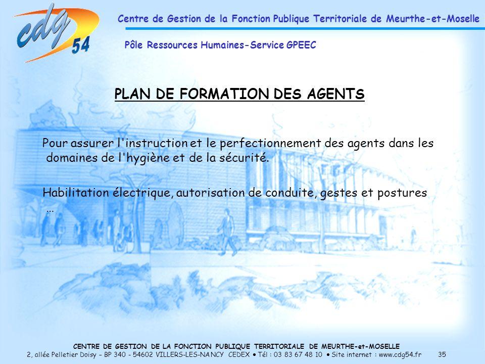 PLAN DE FORMATION DES AGENTS
