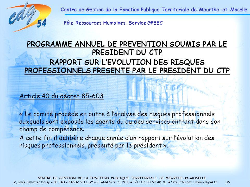 PROGRAMME ANNUEL DE PREVENTION SOUMIS PAR LE PRESIDENT DU CTP