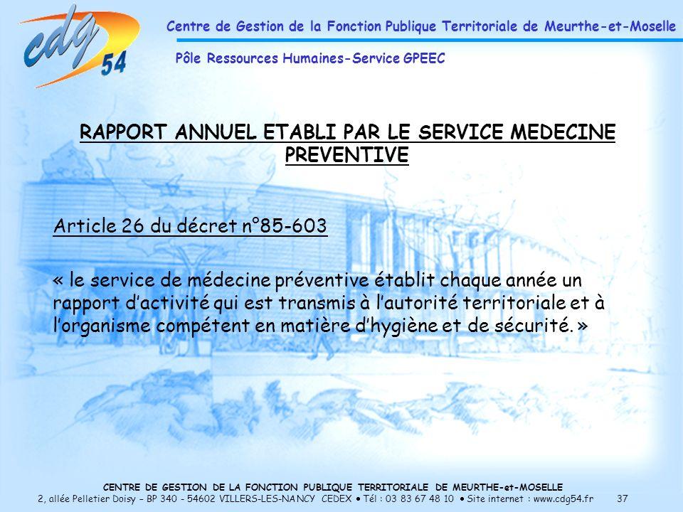 RAPPORT ANNUEL ETABLI PAR LE SERVICE MEDECINE PREVENTIVE