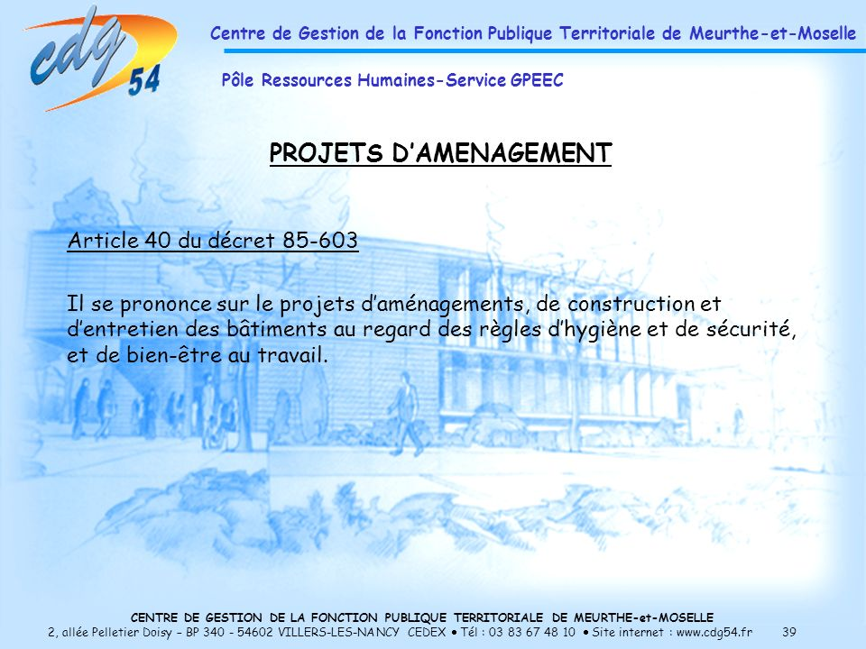PROJETS D'AMENAGEMENT