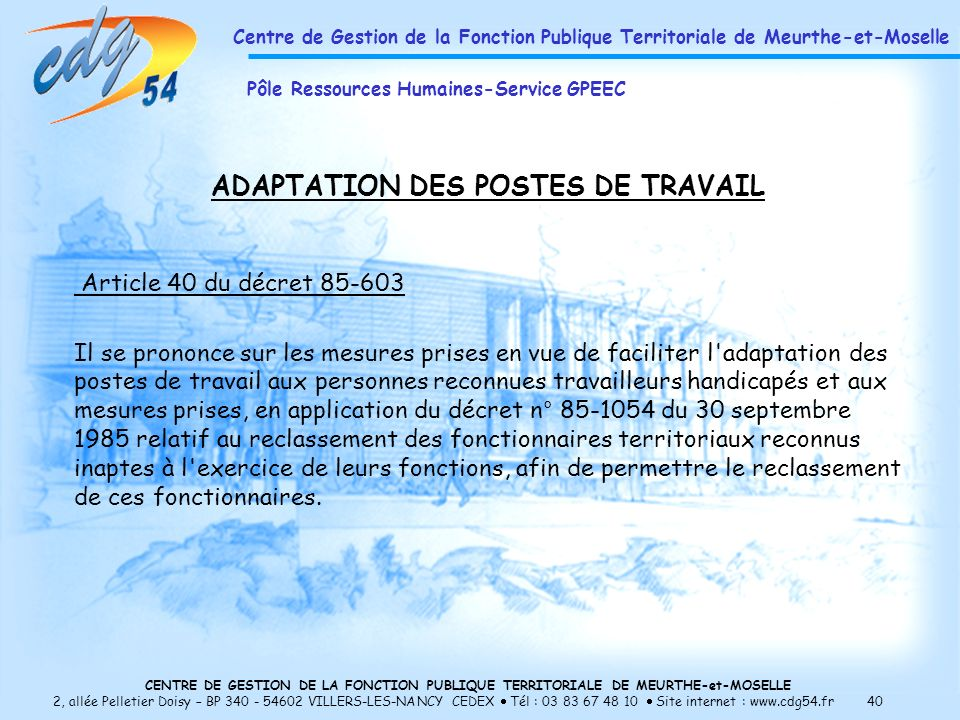 ADAPTATION DES POSTES DE TRAVAIL
