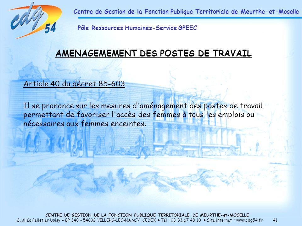 AMENAGEMEMENT DES POSTES DE TRAVAIL