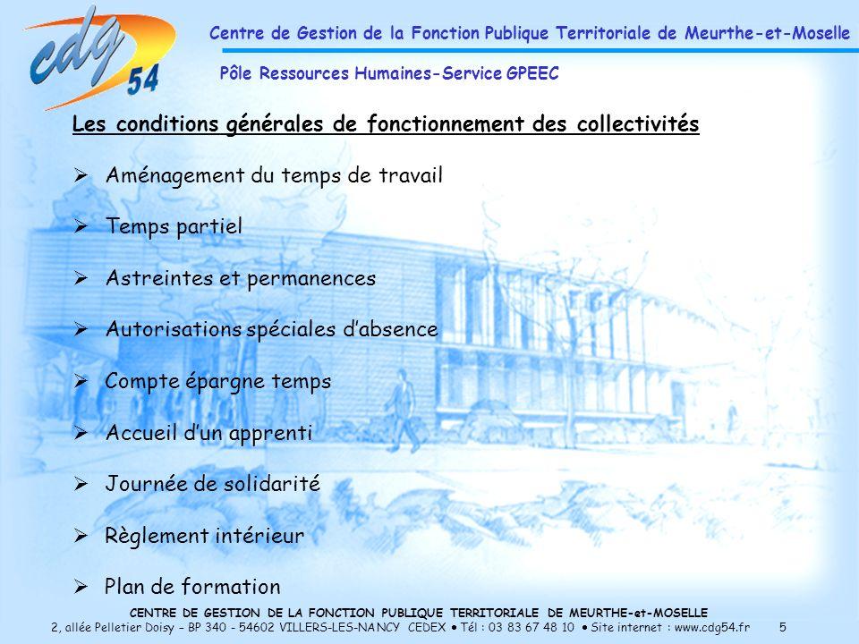 Les conditions générales de fonctionnement des collectivités