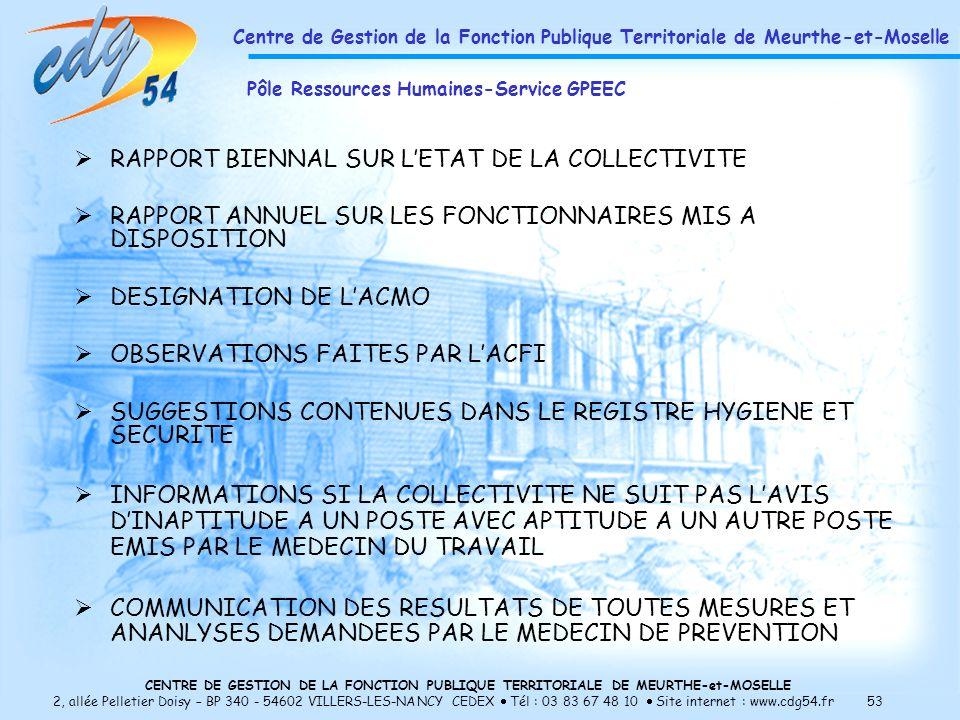 RAPPORT BIENNAL SUR L'ETAT DE LA COLLECTIVITE