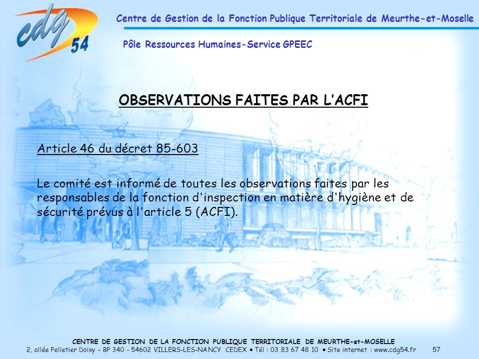 OBSERVATIONS FAITES PAR L'ACFI
