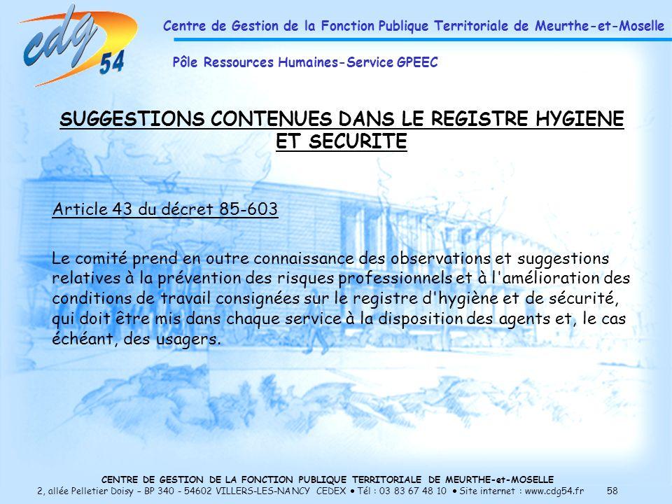 SUGGESTIONS CONTENUES DANS LE REGISTRE HYGIENE ET SECURITE