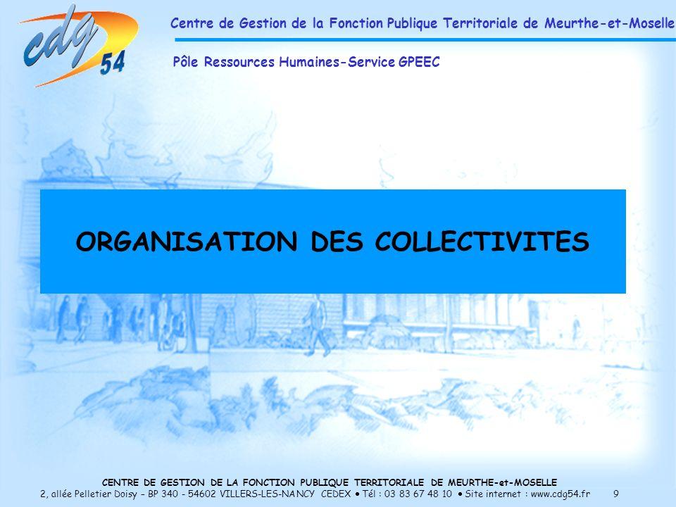 ORGANISATION DES COLLECTIVITES