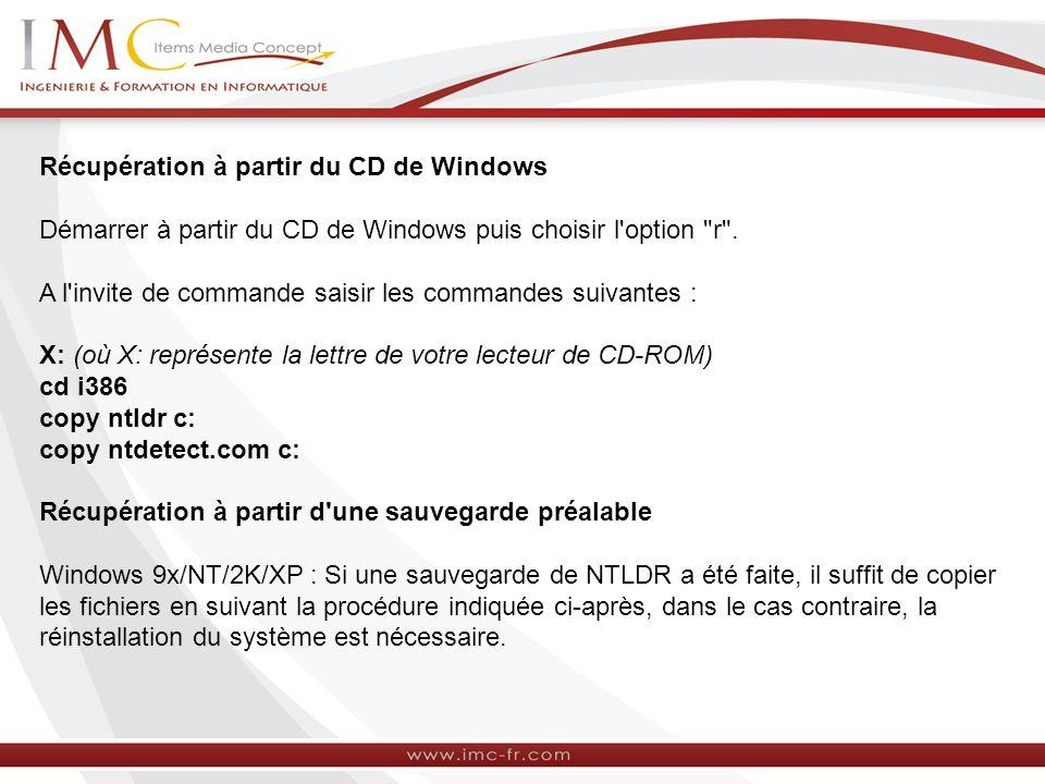 Récupération à partir du CD de Windows
