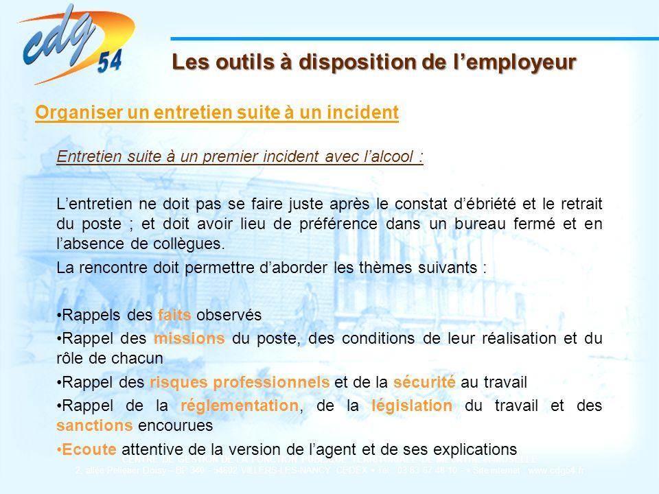 Les outils à disposition de l'employeur