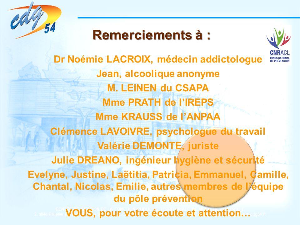 Remerciements à : Dr Noémie LACROIX, médecin addictologue