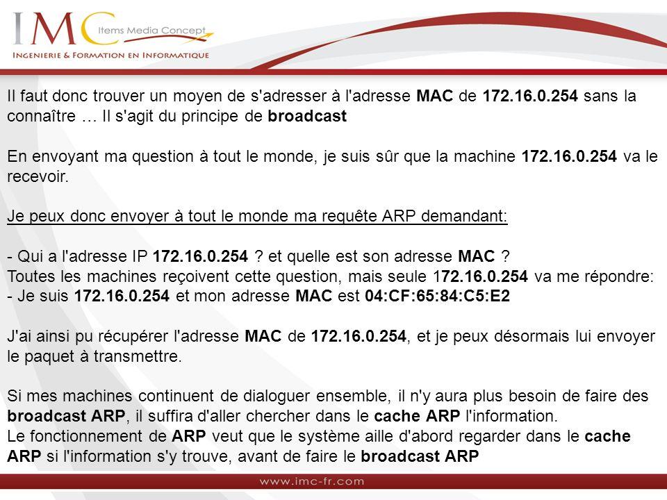 Il faut donc trouver un moyen de s adresser à l adresse MAC de 172. 16