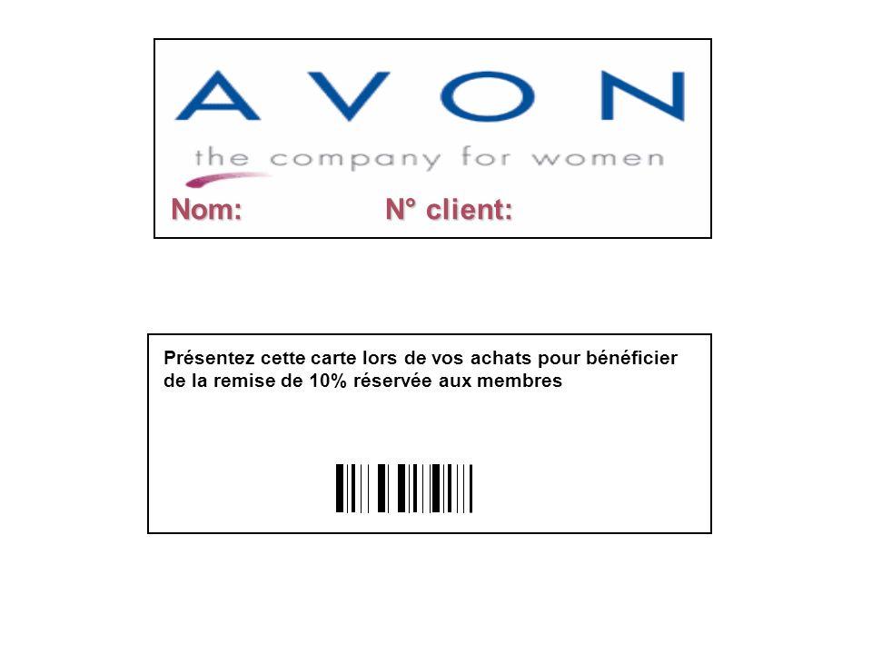 Nom: N° client: Présentez cette carte lors de vos achats pour bénéficier de la remise de 10% réservée aux membres.