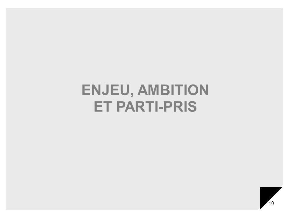 ENJEU, AMBITION ET PARTI-PRIS