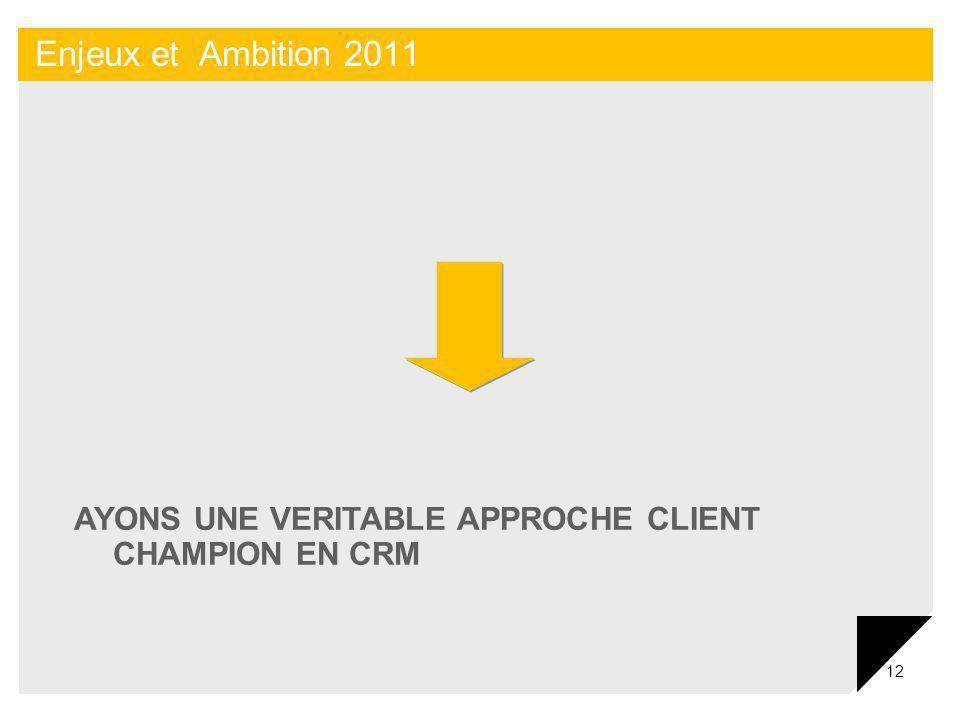 Enjeux et Ambition 2011 AYONS UNE VERITABLE APPROCHE CLIENT CHAMPION EN CRM