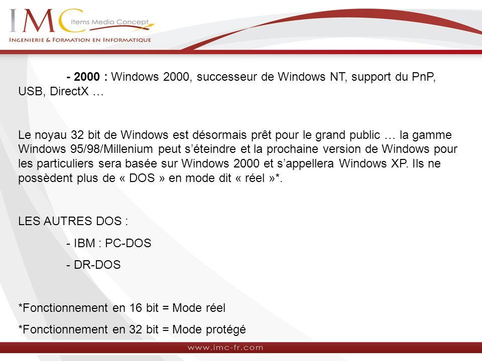 - 2000 : Windows 2000, successeur de Windows NT, support du PnP, USB, DirectX …