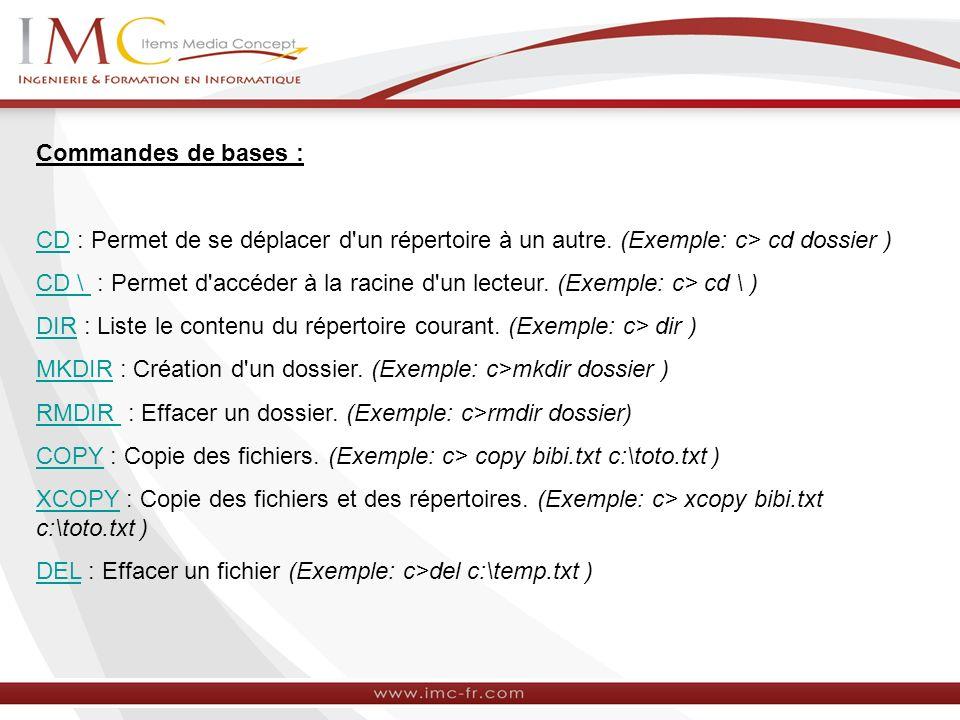 Commandes de bases : CD : Permet de se déplacer d un répertoire à un autre. (Exemple: c> cd dossier )