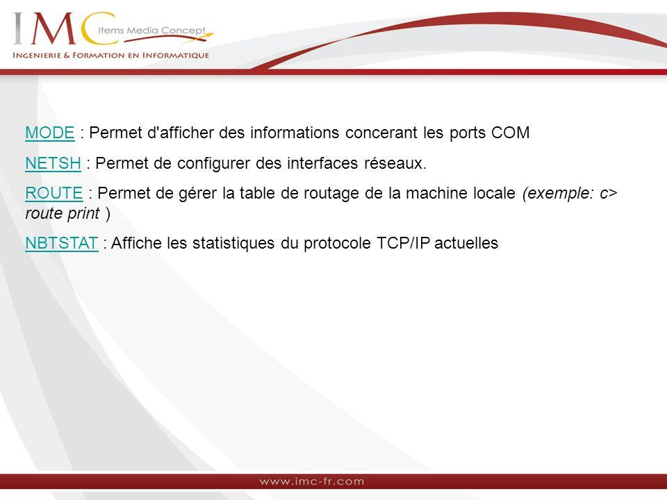 MODE : Permet d afficher des informations concerant les ports COM