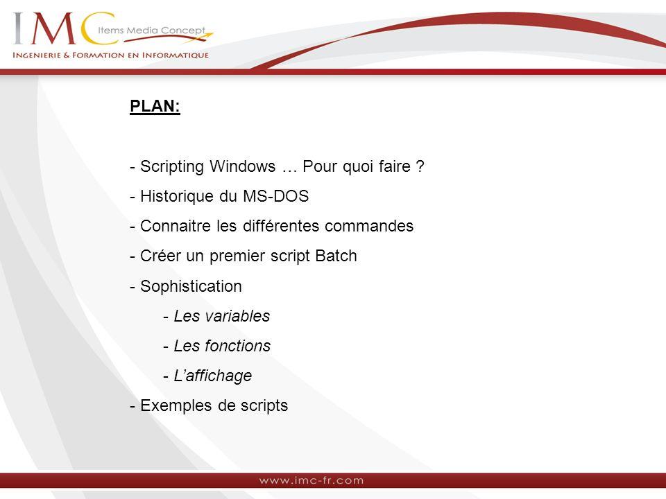 PLAN: - Scripting Windows … Pour quoi faire - Historique du MS-DOS. - Connaitre les différentes commandes.